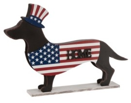 "Glitzhome 24.52""L Metal-Wooden Patriotic Double Sided Home-Welcome Dachshund Decor"