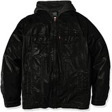 Levi's Men's Tall Size Vintage Deer Faux Leather Hooded Trucker with Full Sherpa Lining