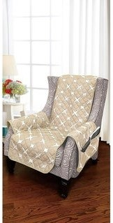 Elegant Comfort 2-Tone Bloomingdale Pattern Quilted Wing Chair Furniture Protector - wing chair - wing chair