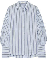 Tibi Striped Cotton-poplin Shirt - Light blue