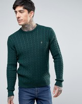 Farah Lewes Crew Sweater Cable Knit Slim Fit in Green Marl