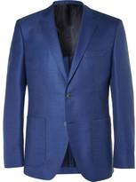 HUGO BOSS Blue Janson Slim-Fit Wool and Silk-Blend Hopsack Blazer