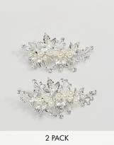 A Star Is Born 2 Pack Silver Embellished Floral Hairslides