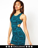 Motel Mini Dress In 90s Squiggle Print With Cut Out