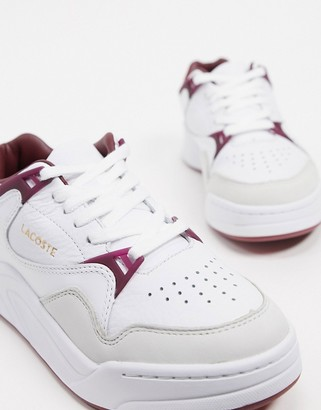 Lacoste court slam leather color block sneakers in white