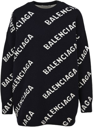 Balenciaga Allover Logo Intarsia Sweater