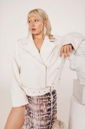 Nasty Gal Womens Hello Moto Faux Leather Oversized Jacket - White - 22