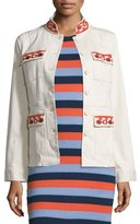 Tory Burch Dayton Embroidered Jacket, New Ivory