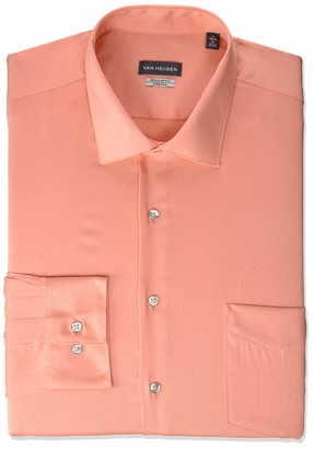 Van Heusen Men's Dress Shirts Regular Fit Lux Sateen Stretch Solid