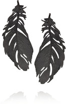 Alex Monroe Ruthenium-plated sterling silver crow feather earrings