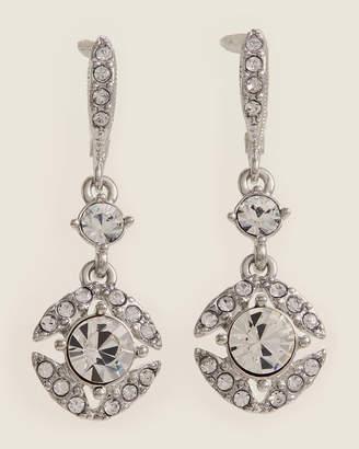 Givenchy Rhodium-Tone Crystal Drop Earrings