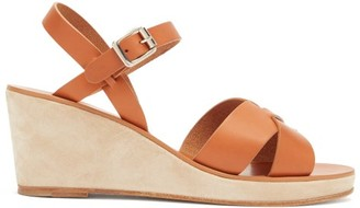 A.P.C. Judith Leather And Suede Wedge Sandals - Tan