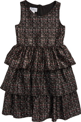 Pippa & Julie Tweed Print Tiered Dress