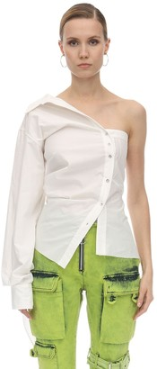 Marques Almeida One Shoulder Draped Cotton Poplin Shirt