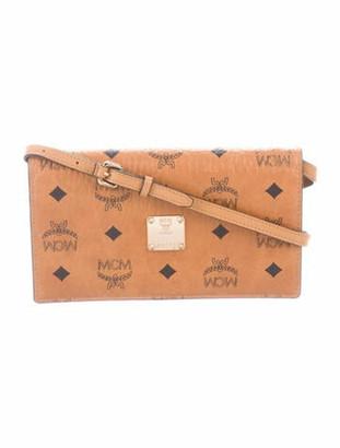 MCM Visetos Wallet On Strap Brown
