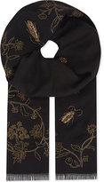 Janavi Floral and bug embroidered cashmere scarf