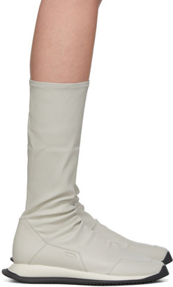 Rick Owens Off-White Stretch Runner Boots