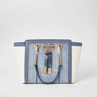River Island Womens Blue panelled wing tote bag
