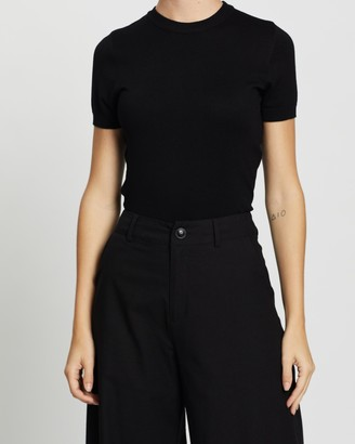 Forcast Women's Black Workwear Tops - Catherine Short Sleeve Knit - Size XS at The Iconic