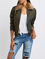 Charlotte Russe Faux Fur Collar Bomber Jacket
