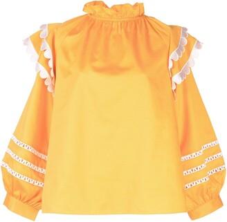 Cynthia Rowley Elia scalloped embroidered top