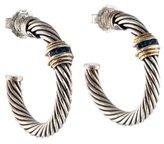 David Yurman Sapphire Two Tone Hoop Earrings