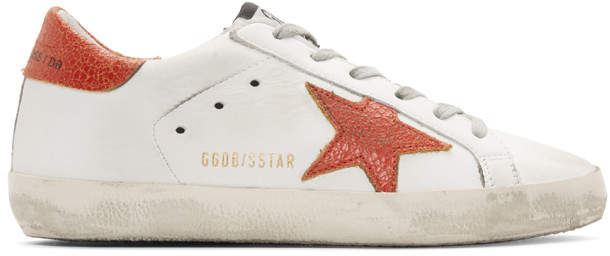 Golden Goose White and Red Superstar Sneakers