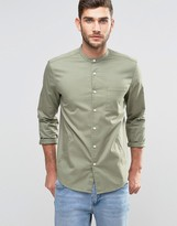 Asos Regular Fit Shirt With Grandad Collar And Side Pockets With Long Sleeves Khaki