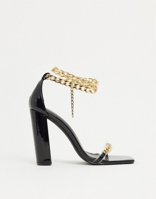 Simmi Shoes Simmi London Arika block-heeled sandals with chain anklet in black