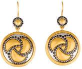 Gurhan Two-Tone Black Diamond Triskele Drop Earrings