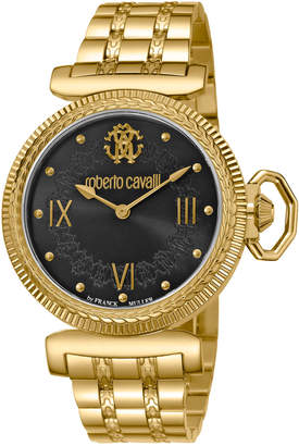 Roberto Cavalli By Franck Muller 38mm Classic Bracelet Watch, Gold/Black