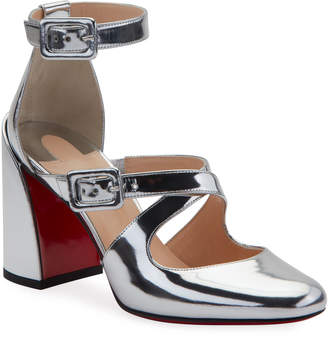 Christian Louboutin Ronnic Metallic Leather Strappy Red Sole Pumps