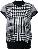 Sacai knit dogtooth top - women - Cotton/Polyurethane - 1