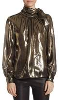 Saks Fifth Avenue COLLECTION Metallic Neck Tie Blouse