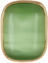 Rivka Friedman 18K Gold Clad Cabochon Lime Cat's Eye Crystal Satin Ring