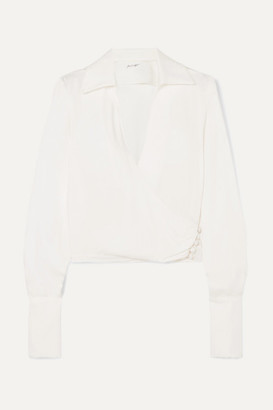 The Line By K - Dayna Satin Wrap Blouse - Cream