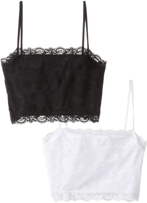 Pure Style Girlfriends Camiflage 2-Pack Lined Stretch Lace Half Camisole