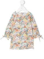 Knot floral print blouse