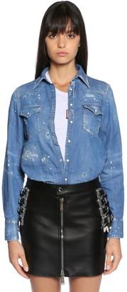 DSQUARED2 Distressed Cotton Denim Western Shirt