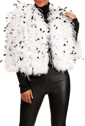 Oscar de la Renta Shadow Fox Fur Jacket W/ Ostrich And Coque Feathers