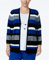 Alfred Dunner Plus Size High Roller Necklace Striped Layered Top