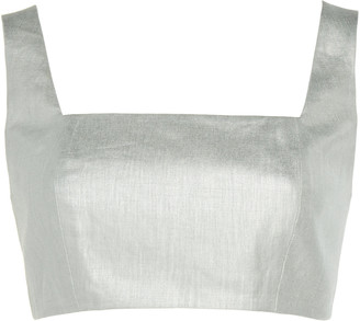 White Story Operato Linen Cropped Bustier Top