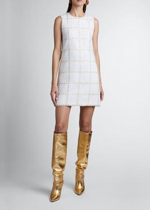 Andrew Gn Ribbon-Check Tweed Sheath Dress