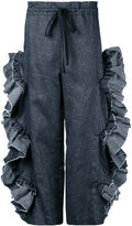 Roberts Wood - scallop ruffle cut-out trousers - women - Cotton/Linen/Flax - S