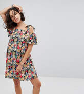 Reclaimed Vintage Inspired Cold Shoulder Mini Dress With Tie Straps In Floral