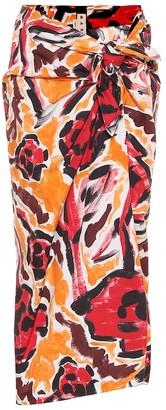 Marni Floral high-rise cotton skirt