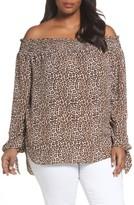 MICHAEL Michael Kors Plus Size Women's Off The Shoulder Leopard Print Top