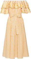 Gül Hürgel Off-the-shoulder Ruffled Striped Cotton And Linen-blend Midi Dress