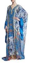 Roberto Cavalli Printed Chiffon V-Neck Long Caftan, Blue Pattern