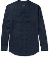 Giorgio Armani Slim-fit Grandad-collar Linen Shirt